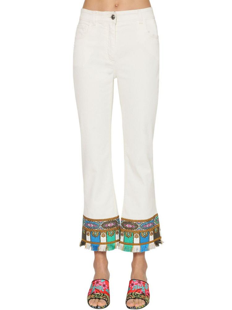 ETRO Crop Flared Stretch Cotton Denim Jeans in white
