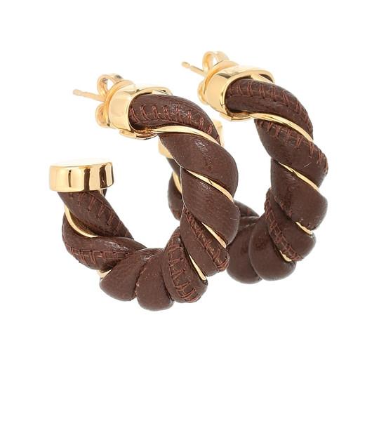 Bottega Veneta Leather and sterling silver earrings in brown