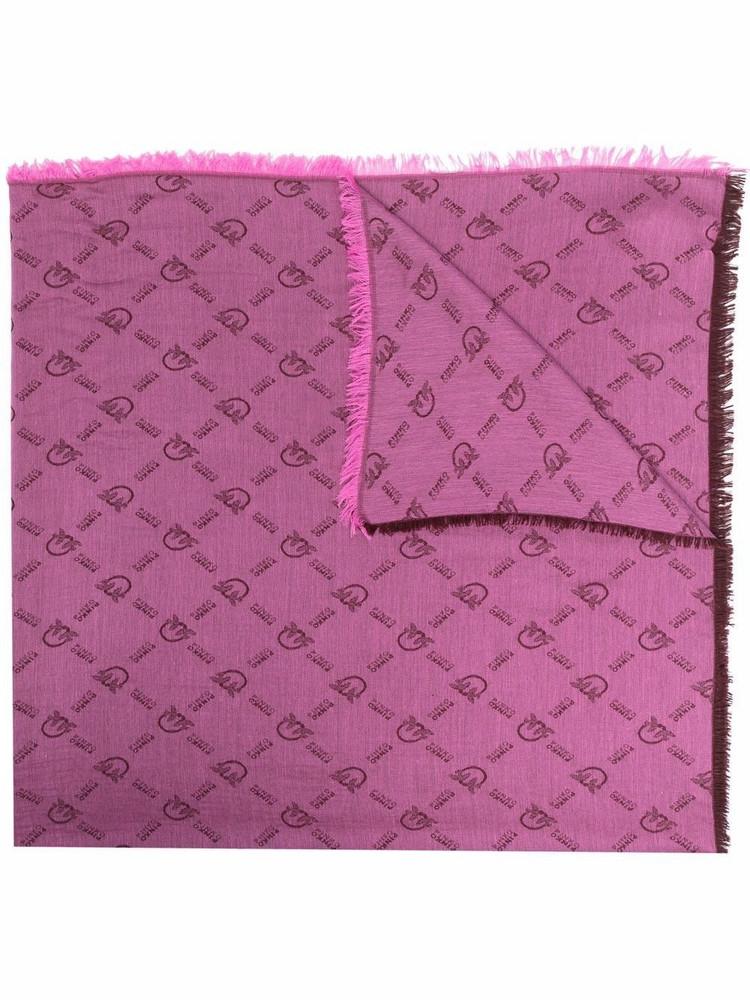 Pinko logo-print cotton scarf in pink