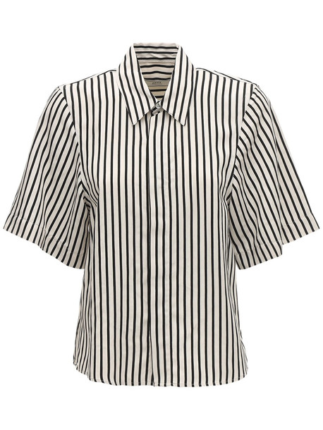 AMI ALEXANDRE MATTIUSSI Striped Viscose Short Sleeve Shirt in black / beige