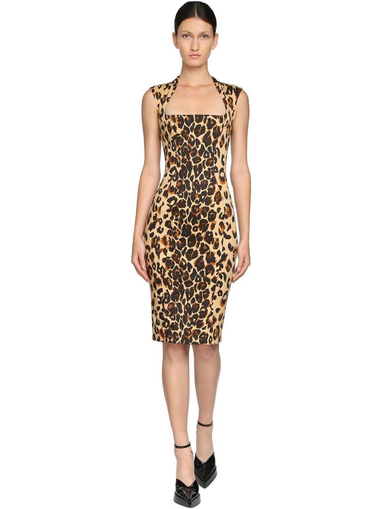 MUGLER Printed Stretch Gabardine Pencil Dress in leopard