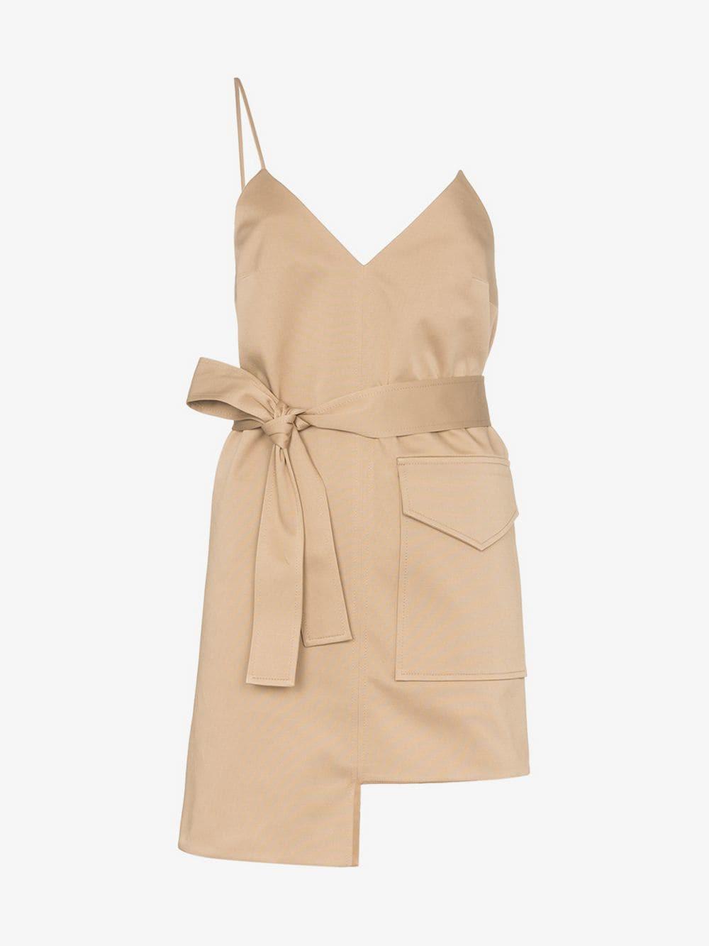 George Keburia Asymmetric mini-dress in neutrals