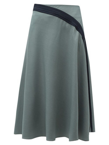 Palmer/harding Palmer//harding - Radiant Pleated Twill Midi Skirt - Womens - Khaki