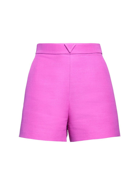 VALENTINO V Logo Wool & Silk Couture Shorts in pink