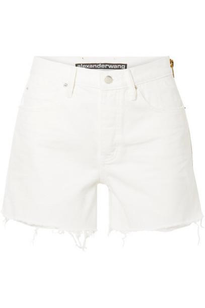 Alexander Wang - Float Zip-embellished Frayed Denim Shorts - White