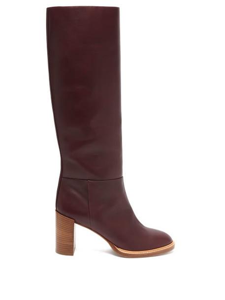 Gabriela Hearst - Bocca Knee High Leather Boots - Womens - Burgundy
