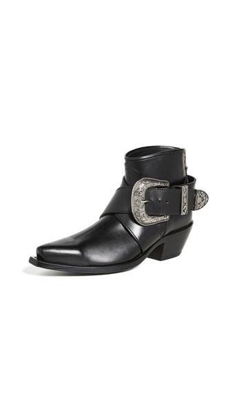 R13 Western Buckle Cowboy Booties in black