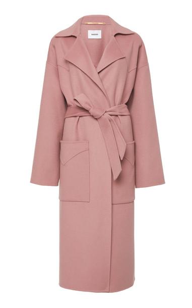 Nanushka Alamo Double-Breasted Wool-Blend Coat Size: XS in pink