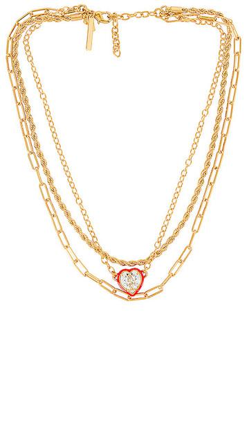 Lele Sadoughi Swarovski Crystal Heart Necklace in Metallic Gold
