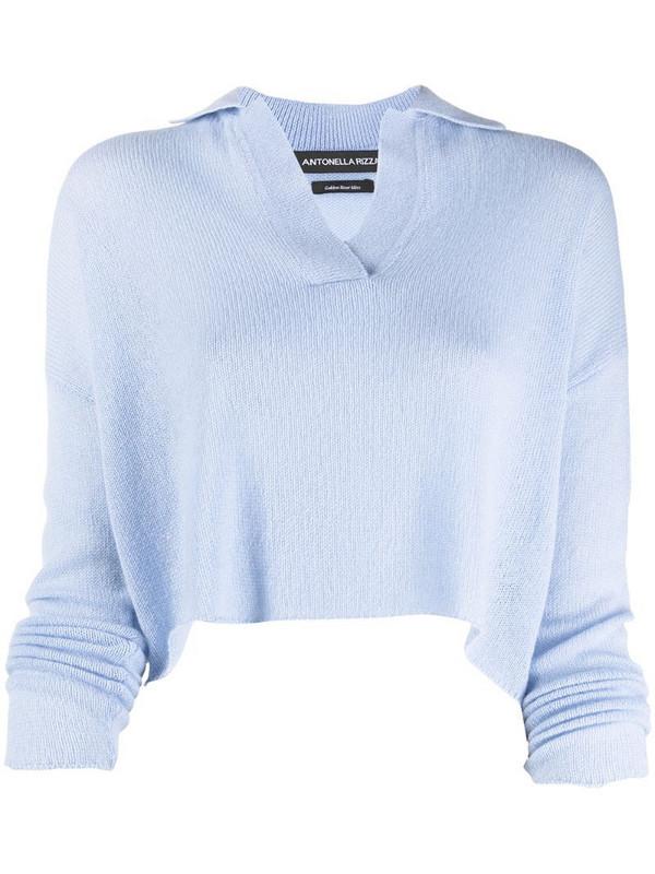 Antonella Rizza cropped cashmere polo jumper in blue