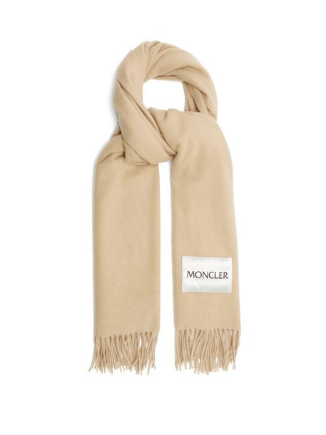 Moncler - Logo-patch Wool Scarf - Womens - Beige