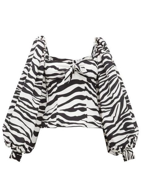 The Attico - Balloon Sleeve Zebra Print Crepe De Chine Top - Womens - Black White
