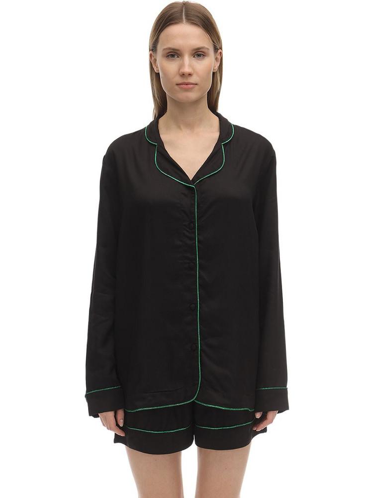 UNDERPROTECTION Lisa Long Sleeves Satin Pajama Shirt in black