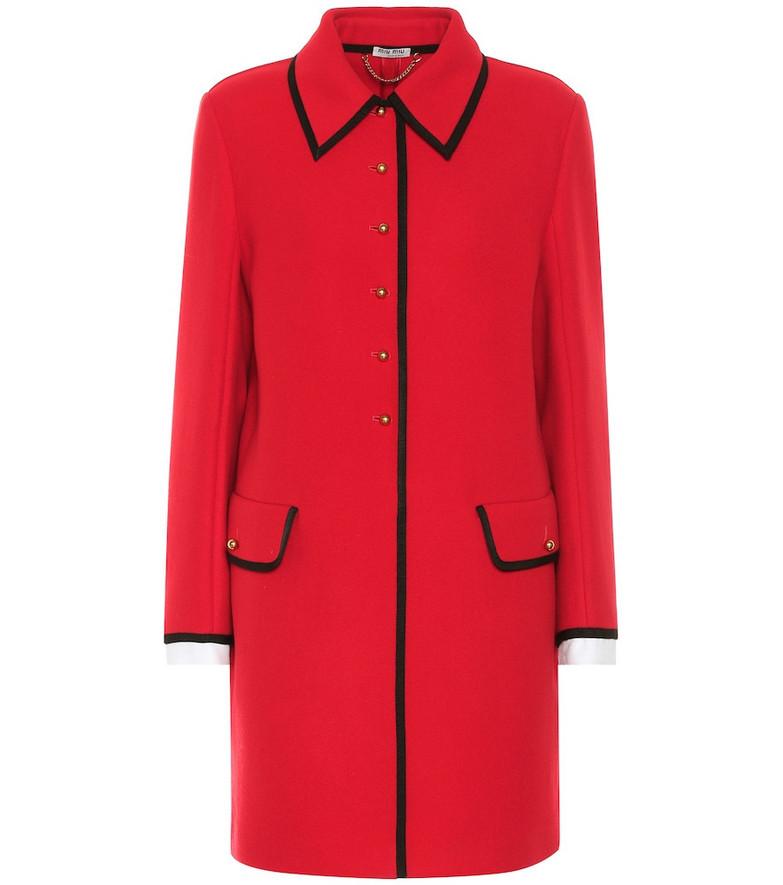 Miu Miu Virgin wool coat in red