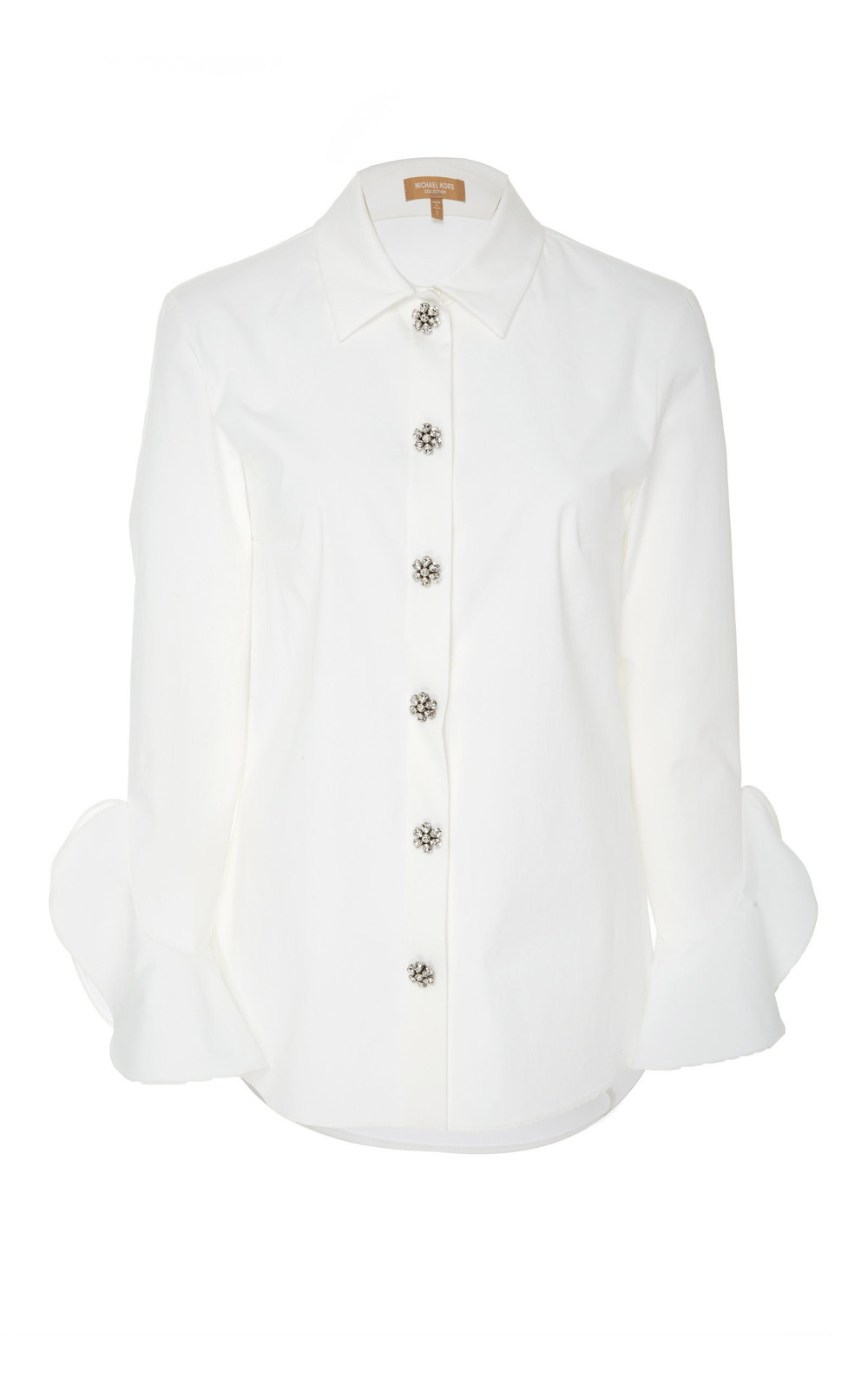 Michael Kors Collection Embellished Cotton-Blend Top in white