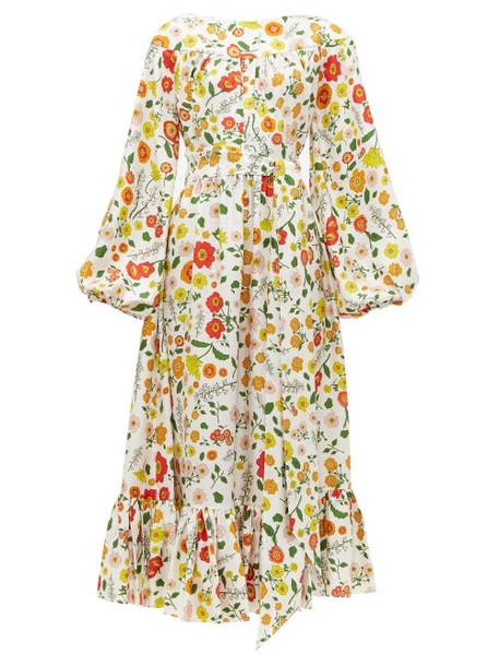 Wiggy Kit - Veranda Floral Print Silk Midi Dress - Womens - Multi