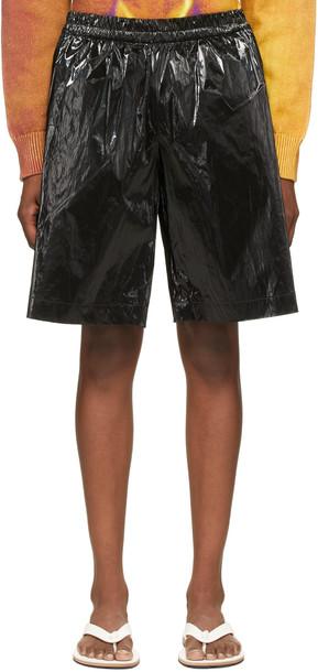Dries Van Noten Black Coated Long Shorts