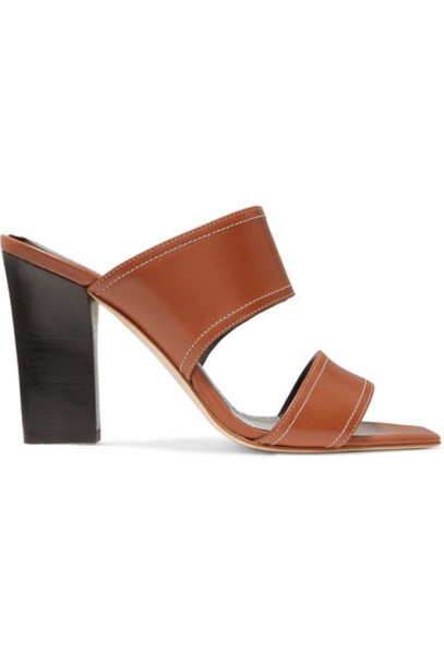 aeyde Serena Leather Mules Tan Wheretoget