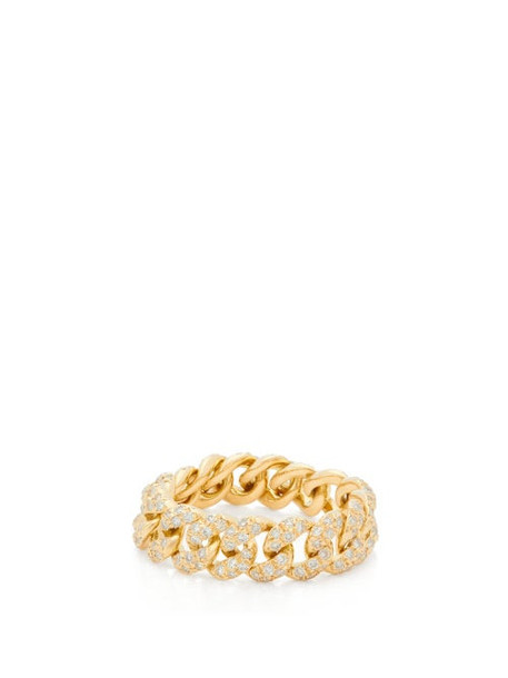 Shay - Mini Link Diamond & 18kt Gold Ring - Womens - Crystal
