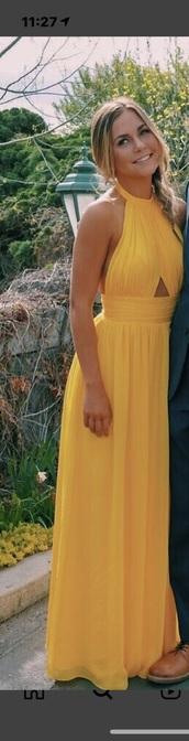 dress,yellow,halter neck,cut-out,maxi