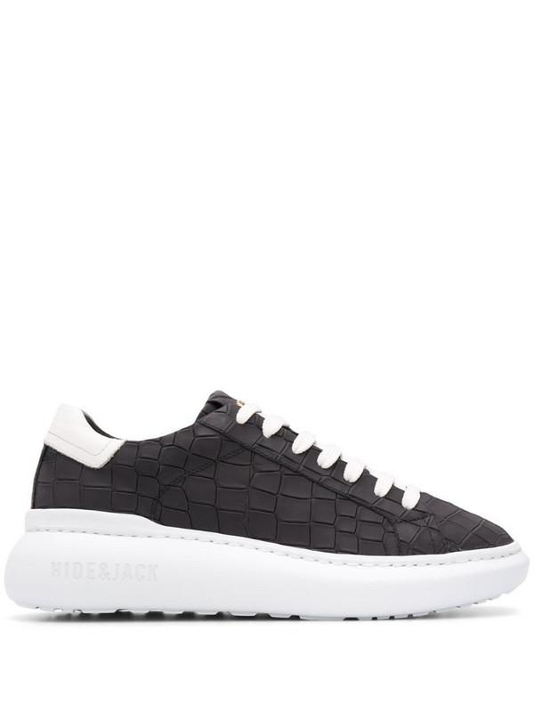 Hide&Jack crocodile-effect low-top sneakers in black
