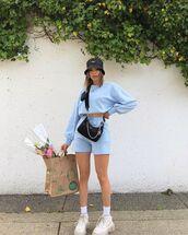 sweater,sweatshirt,joggers,sneakers,black bag,prada