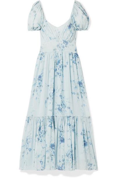 LoveShackFancy - Angie Gathered Floral-print Silk-georgette Maxi Dress - Light blue