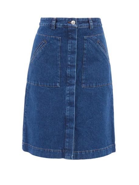 A.P.C. A.P.C. - Anita Vintage-denim A-line Midi Skirt - Womens - Dark Denim