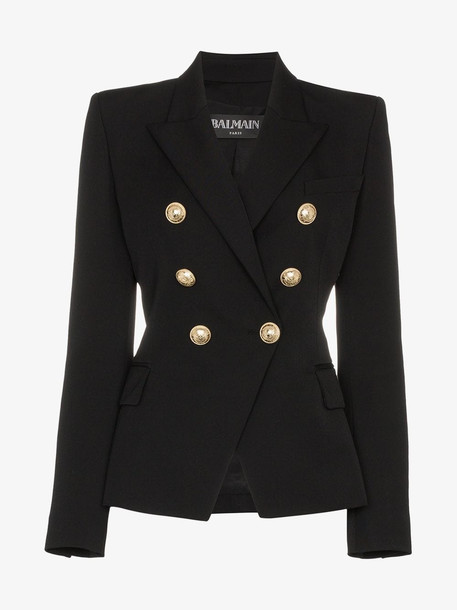 Balmain double-breasted blazer in noir