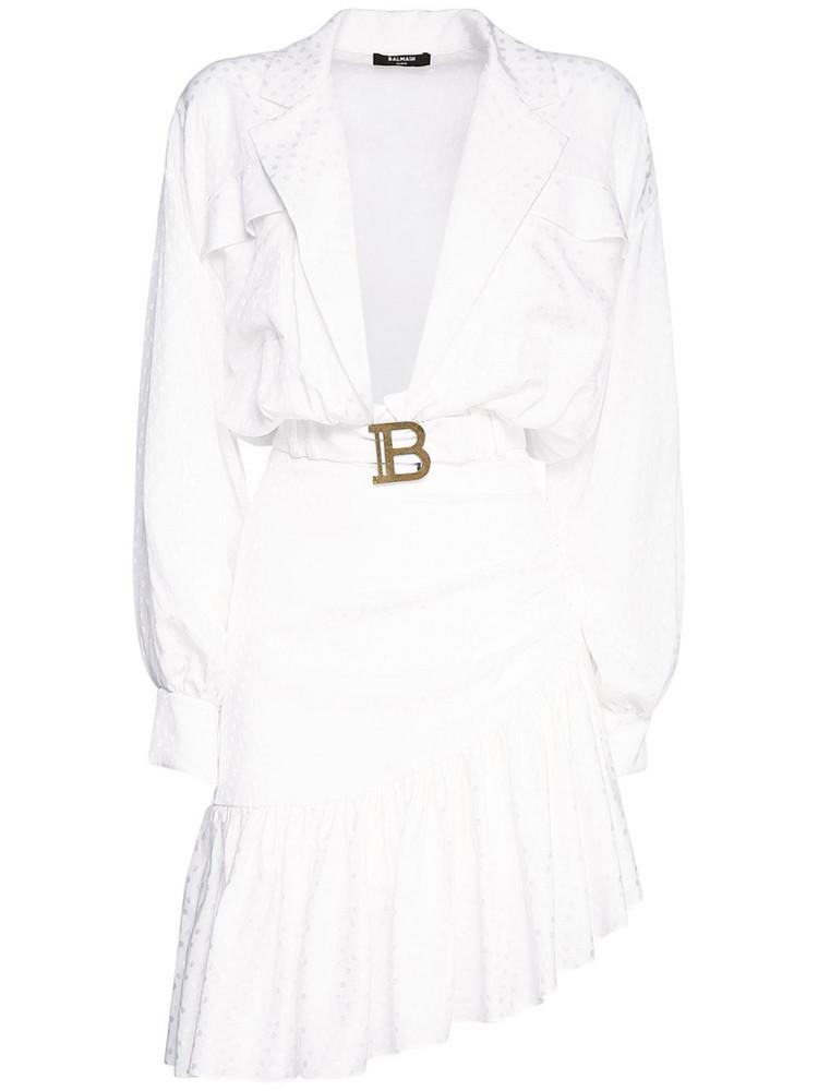 BALMAIN Ruffled Silk Mini Dress in white
