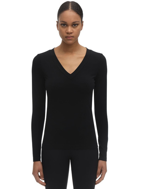 WOLFORD Sustainable Aurora Modal V Neck Top in black