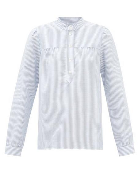 A.P.C. A.P.C. - Loula Stand-collar Striped Cotton-oxford Blouse - Womens - Light Blue