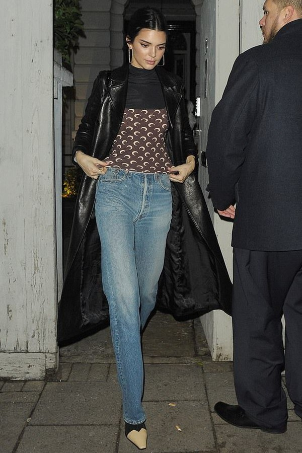 top jeans coat fall outfits kendall jenner kardashians celebrity model off-duty turtleneck
