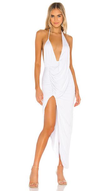 superdown Mia Drape Slit Dress in White