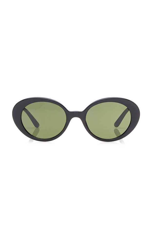 Oliver Peoples THE ROW Parquet 50 Oval-Frame Acetate Sunglasses in black