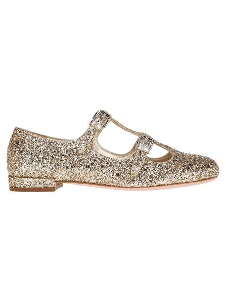 Miu Miu Glitter Ballerinas in gold