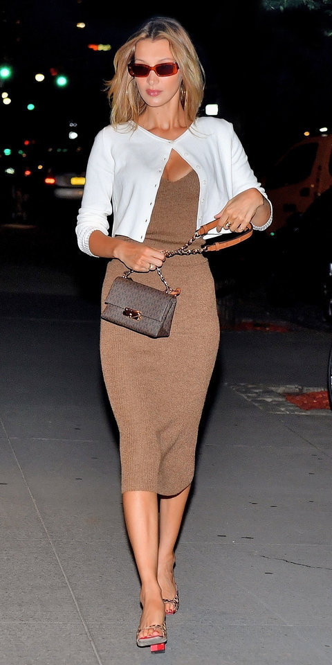 dress cardigan sandals bella hadid model off-duty midi dress celebrity