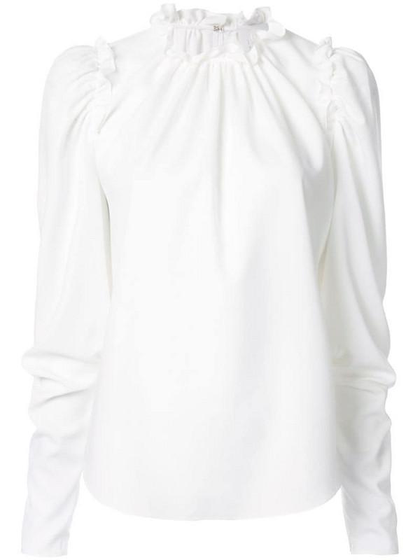 Ingie Paris ruffled long-sleeved blouse in white