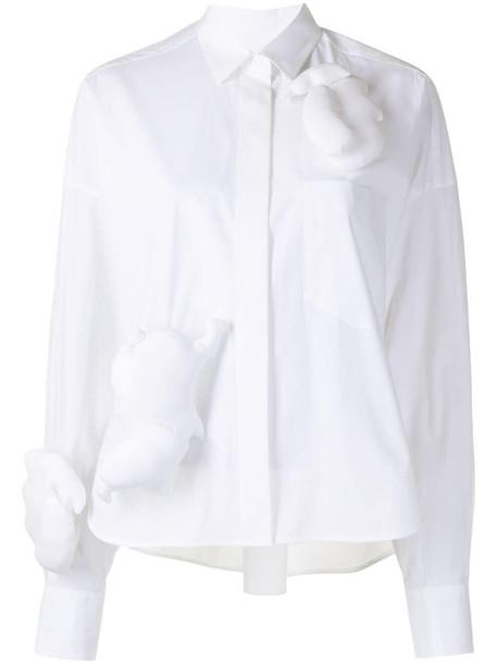 Enföld padded applique shirt in white