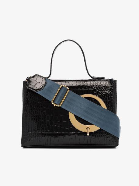 Trademark Black and Blue Harriet Leather Shoulder Bag