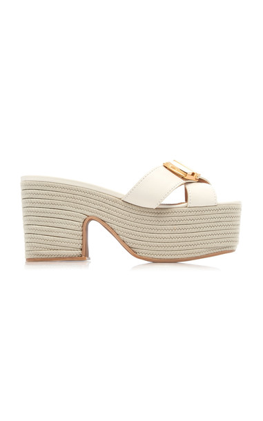 Jacquemus Leather Espadrille Platform Sandals Size: 35 in white