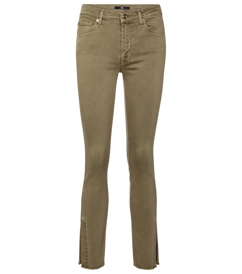 7 For All Mankind Ronnie Slim Illusion mid-rise skinny jeans in green