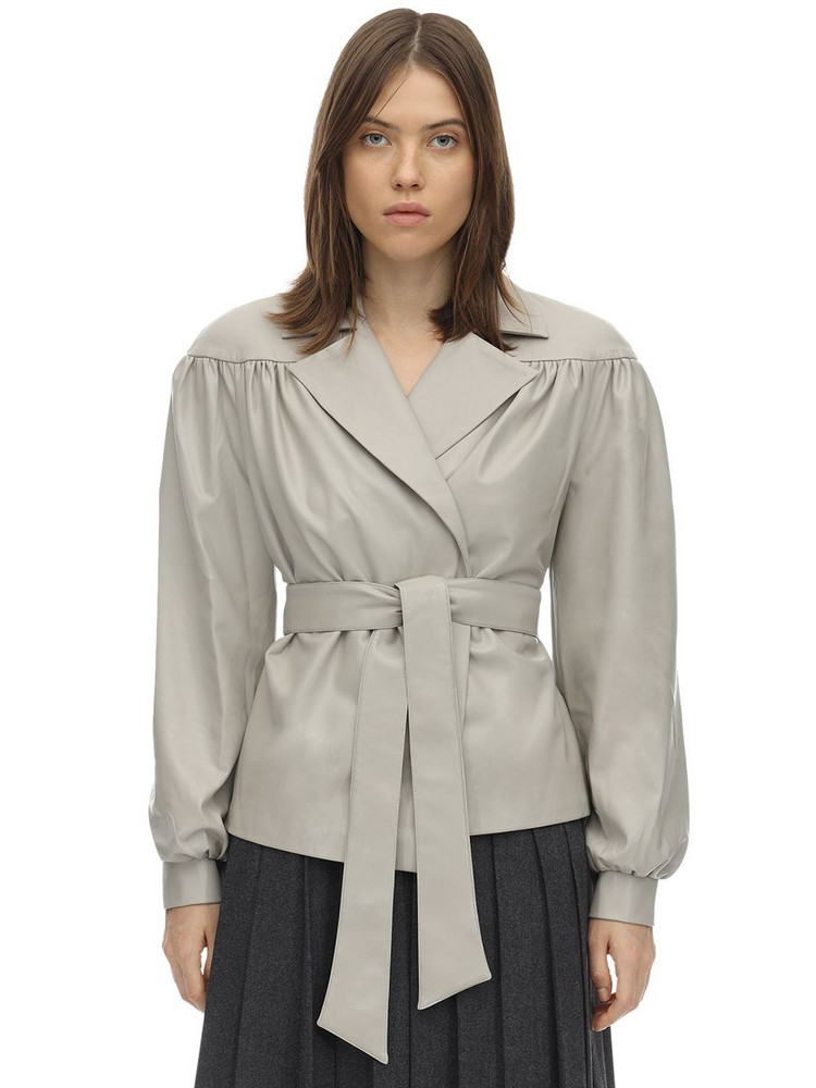 LESYANEBO Ruffled Faux Leather Jacket W/ Belt in grey