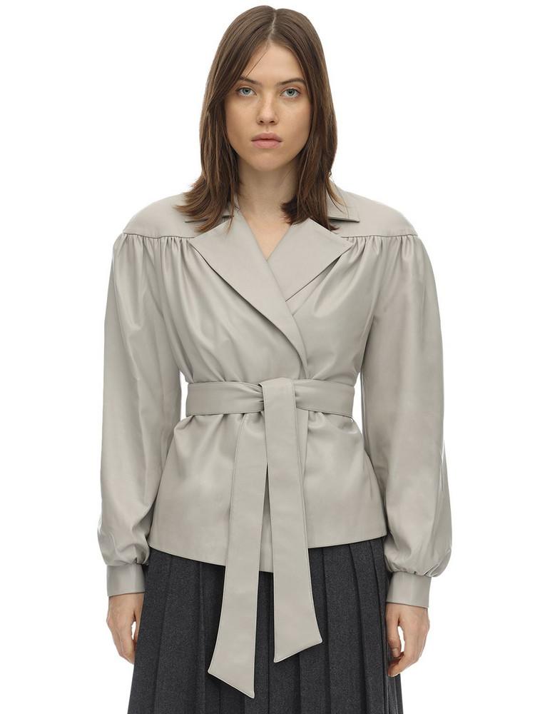 LESYANEBO Ruffled Faux Leather Jacket W/ Belt in grey
