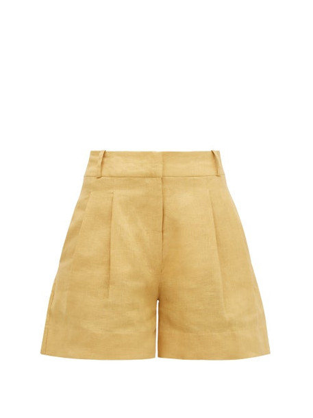Asceno - The Madrid High Rise Slubbed Linen Shorts - Womens - Dark Yellow