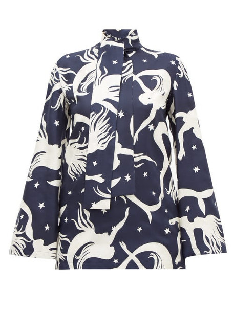Valentino - Pussy-bow Mermaid-print Silk-twill Blouse - Womens - Navy Print