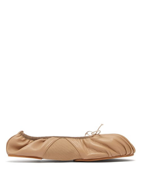Acne Studios - Betty Ruched Leather Ballet Flats - Womens - Nude