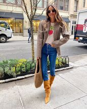 top,white t-shirt,plaid blazer,knee high boots,skinny jeans,bag