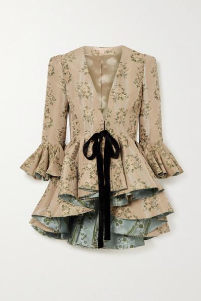 Brock Collection - Ruffled Velvet-trimmed Floral Brocade Peplum Jacket - Beige