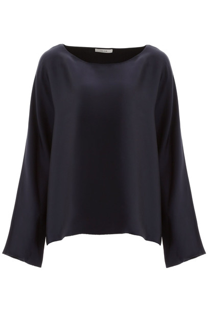 The Row Satin Dylia Blouse in blue